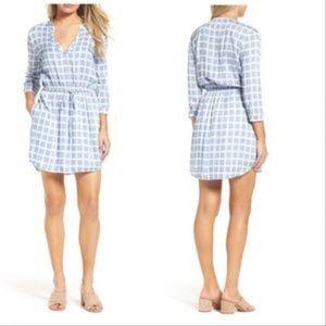 BB Dakota Blue White Plaid Shirt Dress